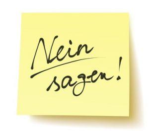Quadratisches Postit mit der Aufschrift: Nein sagen! handschriftlich, unterstrichen, Vektor, freigestellt